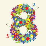Numbers, floral design. Stock Images
