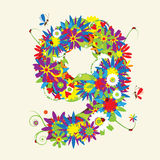 Numbers, floral design. Stock Image