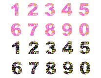 Numbers with flowers. Like a birthday candle vector. editable Royalty Free Stock Photos