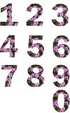 Numbers and flowers - Zero to Nine  Royalty Free Stock Photography