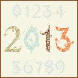 Numbers font. New year 2013 (two thousand and thirteen). Set of stylized numbers Royalty Free Stock Images