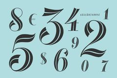 Numbers font. Classical elegant font Stock Photography
