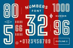 Numbers font. Sport font with numbers and numeric stock illustration
