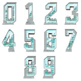 Numbers in the form of urban buildings Royalty Free Stock Photos