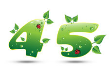 Numbers Four and Five Green Nature Concept stock illustration