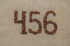 Numbers four, five, six from coffee beans Stock Photo