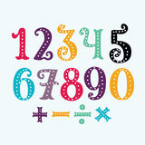 The numbers in fun in the style of children. from 0 to 9 Stock Image