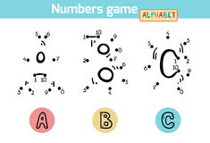 Numbers game (Alphabet): letters A, B, C Royalty Free Stock Photography