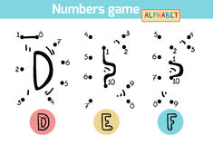 Numbers game (Alphabet): letters D, E, F Royalty Free Stock Photo