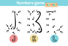 Numbers game (Alphabet): letters J, K, L Royalty Free Stock Images