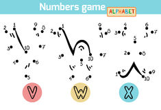 Numbers game (Alphabet): letters V, W, X Royalty Free Stock Image