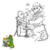 Numbers game for children: crocodile and drum Stock Images