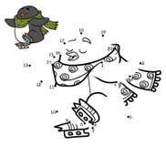 Numbers game for children, dot to dot, penguin on skates Stock Photo
