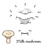 Numbers game for children. Edible mushrooms, milk mushroom Stock Photo