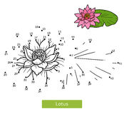 Numbers game for children, flower Lotus. Numbers game, education dot to dot game for children, flower Lotus Royalty Free Stock Photo
