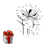 Numbers game for children: gift in a box with bow Royalty Free Stock Images