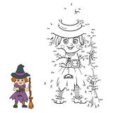 Numbers game for children: Halloween characters (witch) Royalty Free Stock Photo