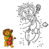 Numbers game for children: lion and cello Royalty Free Stock Photo