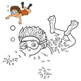 Numbers game for children, little boy swimming in the sea Royalty Free Stock Images