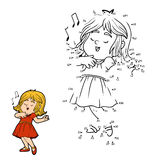 Numbers game for children: little girl in a red dress is singing. Numbers game for children, education game: little girl in a red dress is singing a song Royalty Free Stock Images