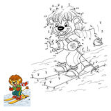 Numbers game for children: little lion skiing Stock Images