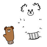 Numbers game for children, mitten with a bear Royalty Free Stock Image