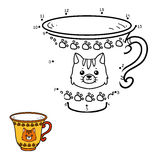 Numbers game for children. A mug with a cute cat. Numbers game for children, education dot to dot game. A mug with a cute cat Royalty Free Stock Image