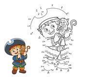 Numbers game for children (pirate boy and monkey) Stock Photo