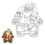 Numbers game for children: Santa Claus gives a gift a little boy Stock Images