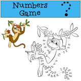 Numbers game with contour. Little cute brown monkey. Royalty Free Stock Photography