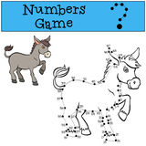 Numbers game with contour. Little cute donkey. Royalty Free Stock Image