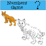 Numbers game with contour. Little cute lynx. Stock Photo