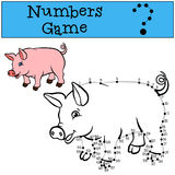 Numbers game with contour. Little cute pig smiles. Stock Photo