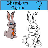 Numbers game with contour. Little cute rabbit. Stock Image