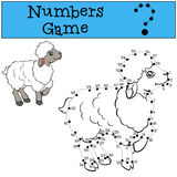 Numbers game with contour. Little cute sheep. Royalty Free Stock Images