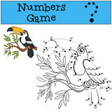 Numbers game with contour. Little cute toucan. Stock Photos