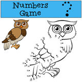 Numbers game. Cute wise owl. Educational games for kids: Numbers game. Cute wise owl Royalty Free Stock Images