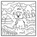 Numbers game, dot to dot game for children, Yeti royalty free illustration