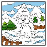 Numbers game, dot to dot game for children, Yeti Royalty Free Stock Images