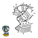 Numbers game, dot to dot, scarf with winter ornament Royalty Free Stock Photography