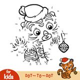 Numbers game, education game for children, Christmas Tiger. Numbers game, education dot to dot game for children, Christmas Tiger Stock Images