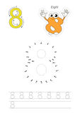 Numbers game for figure Eight. Vector exercise illustrated alphabet. Learn handwriting. Connect dots by numbers. Tracing worksheet for figure Eight Stock Photos
