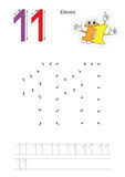 Numbers game for figure Eleven. Vector exercise illustrated alphabet. Learn handwriting. Connect dots by numbers. Tracing worksheet for figure Eleven Royalty Free Stock Photography