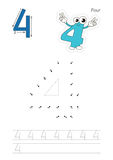 Numbers game for figure Four. Vector exercise illustrated alphabet. Learn handwriting. Connect dots by numbers. Tracing worksheet for figure Four. The colorful Royalty Free Stock Photography