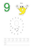 Numbers game for figure Nine. Vector exercise illustrated alphabet. Learn handwriting. Connect dots by numbers. Tracing worksheet for figure Nine Stock Photography