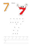Numbers game for figure Seven. Vector exercise illustrated alphabet. Learn handwriting. Connect dots by numbers. Tracing worksheet for figure Seven Stock Photos