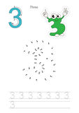 Numbers game for figure Three. Vector exercise illustrated alphabet. Learn handwriting. Connect dots by numbers. Tracing worksheet for figure Three Stock Photos