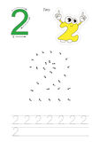 Numbers game for figure Two. Vector exercise illustrated alphabet. Learn handwriting. Connect dots by numbers. Tracing worksheet for figure Two Royalty Free Stock Image