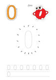 Numbers game for figure Zero. Vector exercise illustrated alphabet. Learn handwriting. Connect dots by numbers. Tracing worksheet for figure Zero. Fugures and Royalty Free Stock Images