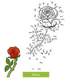 Numbers game, flower Rose. Numbers game, education dot to dot game for children, flower Rose Royalty Free Stock Images